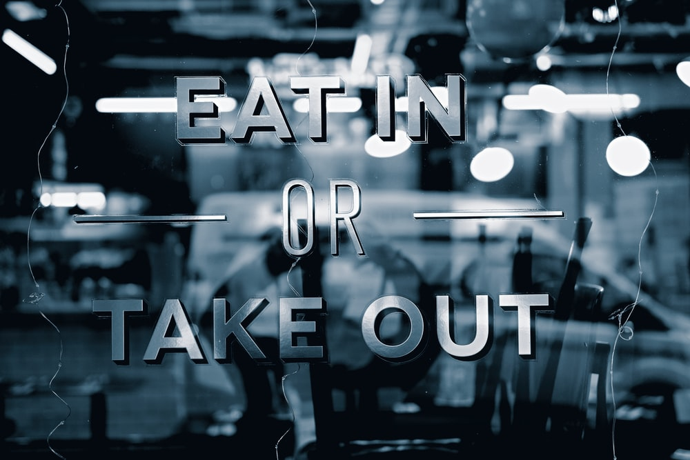 Eat in Or Take Out text