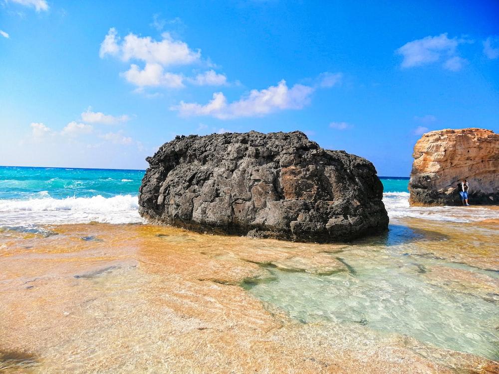 brown rock on beach line