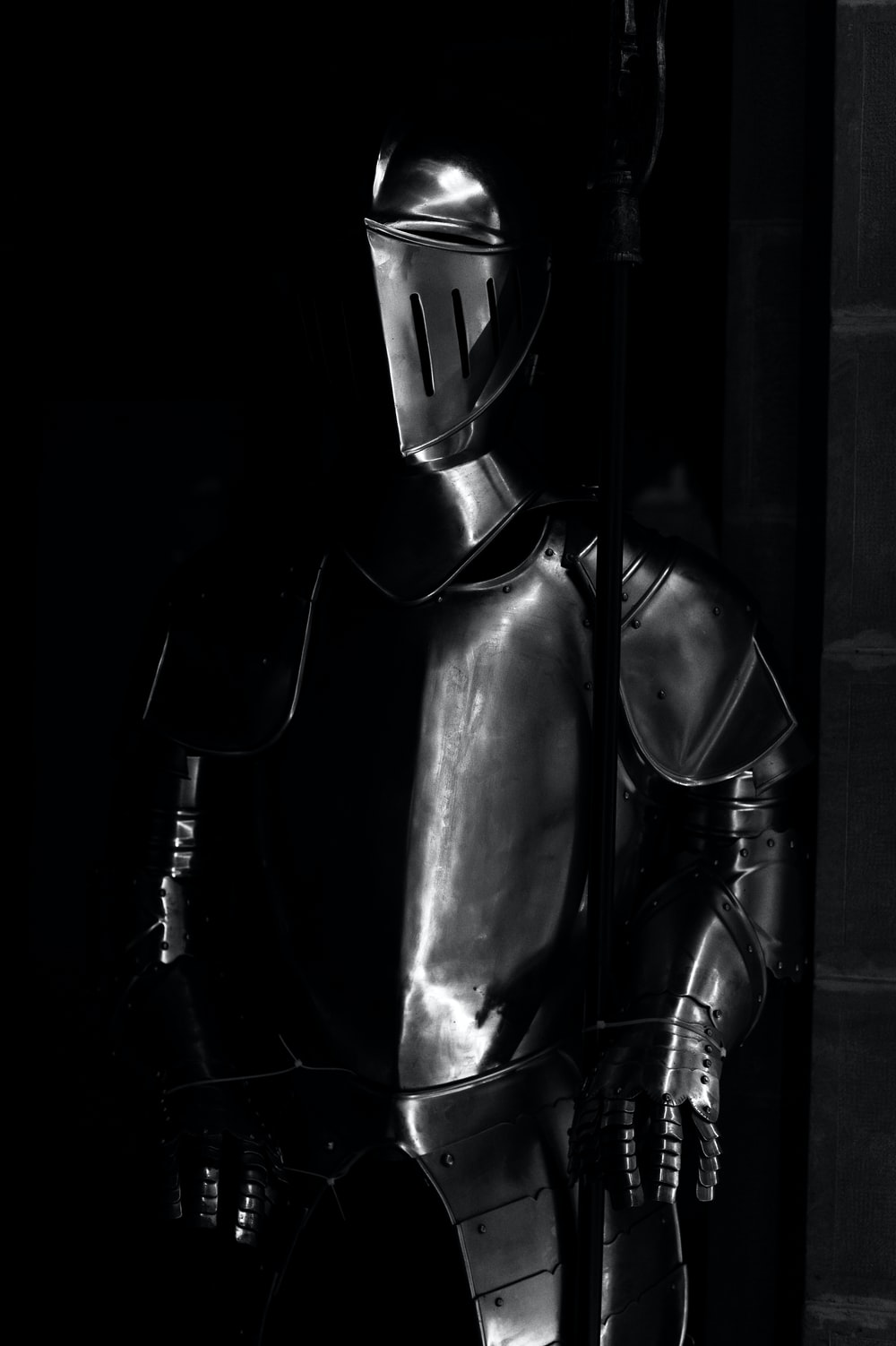 grayscale photography of armor
