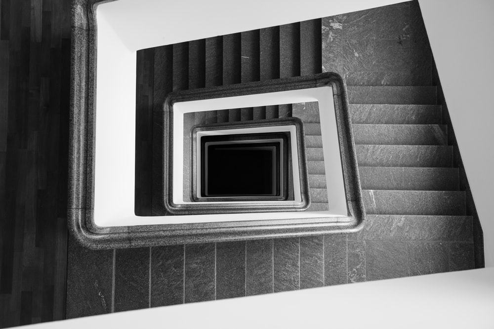 spiral black and gray stairs