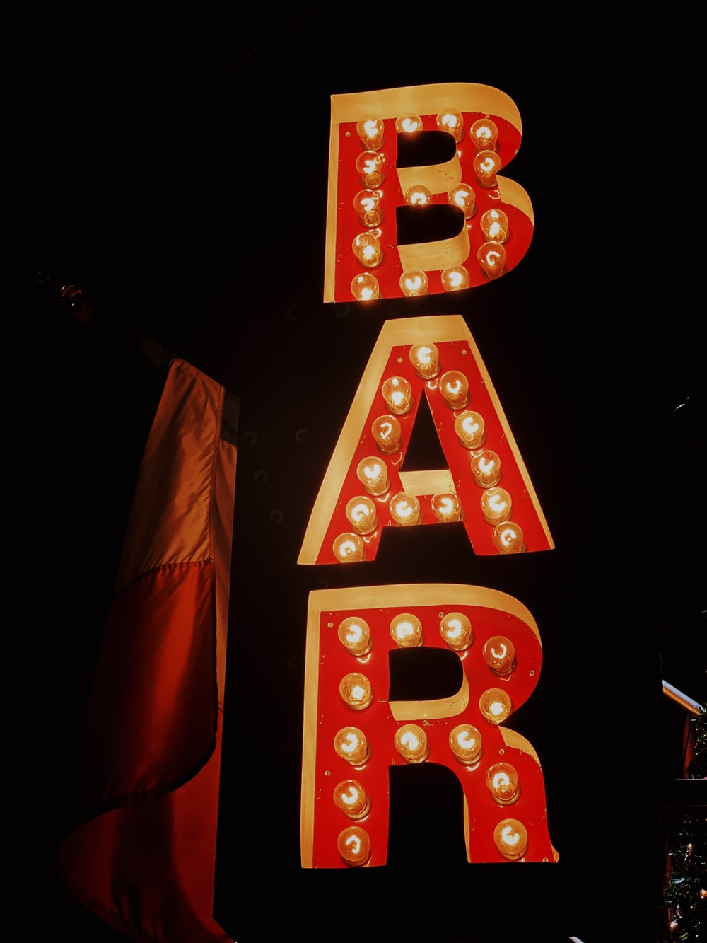 red bar signage