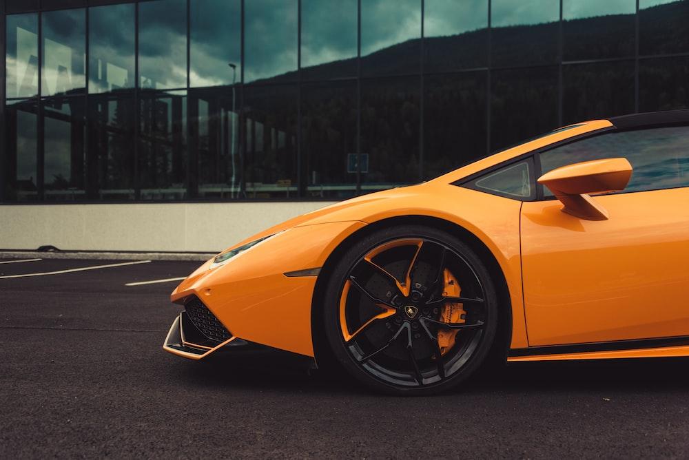 orange Lamborghini coupe