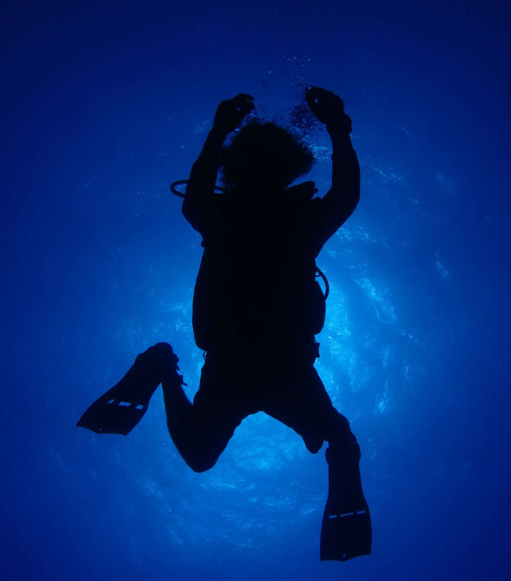 silhouette of person in under water photography of