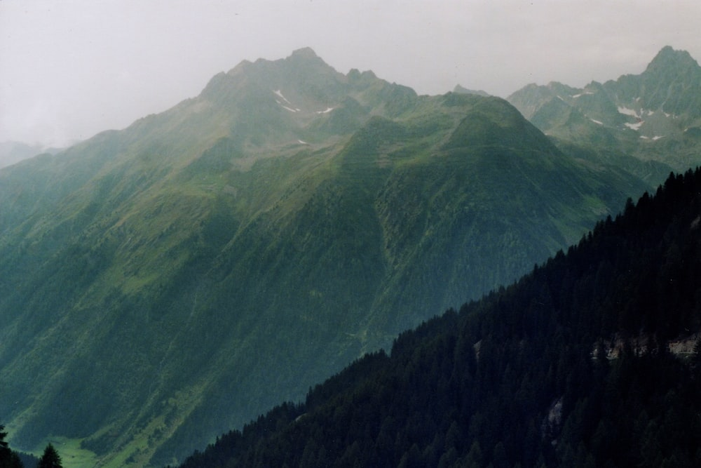 aerial photography of green mountains