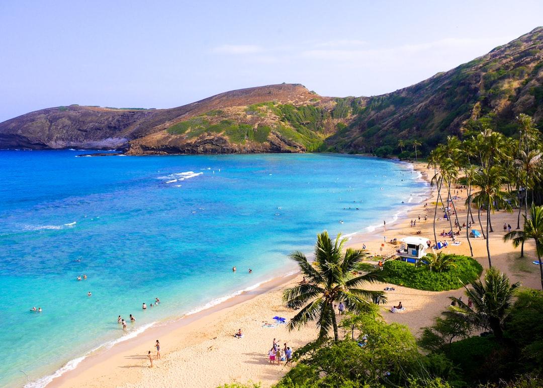 The Hanauma Bay tropical beach in Hawaii.