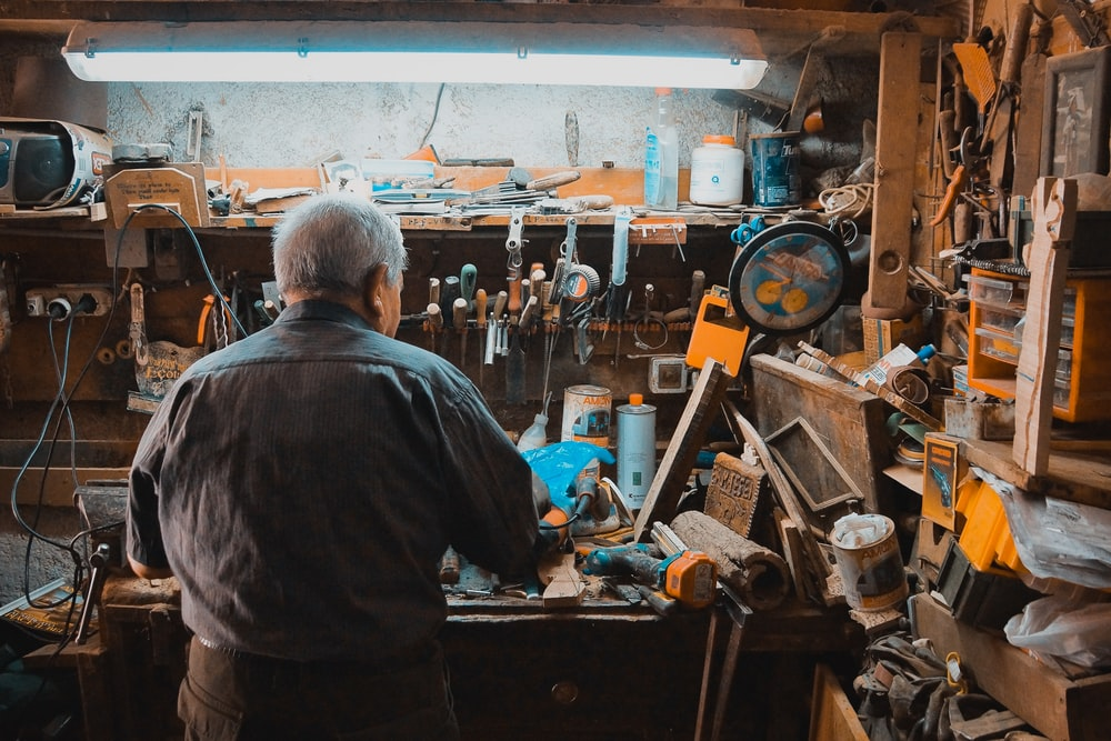 man working on a workbench
