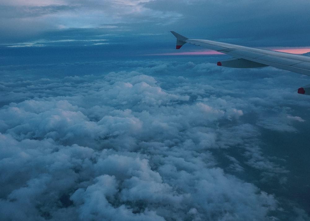 flying plane during golden hour