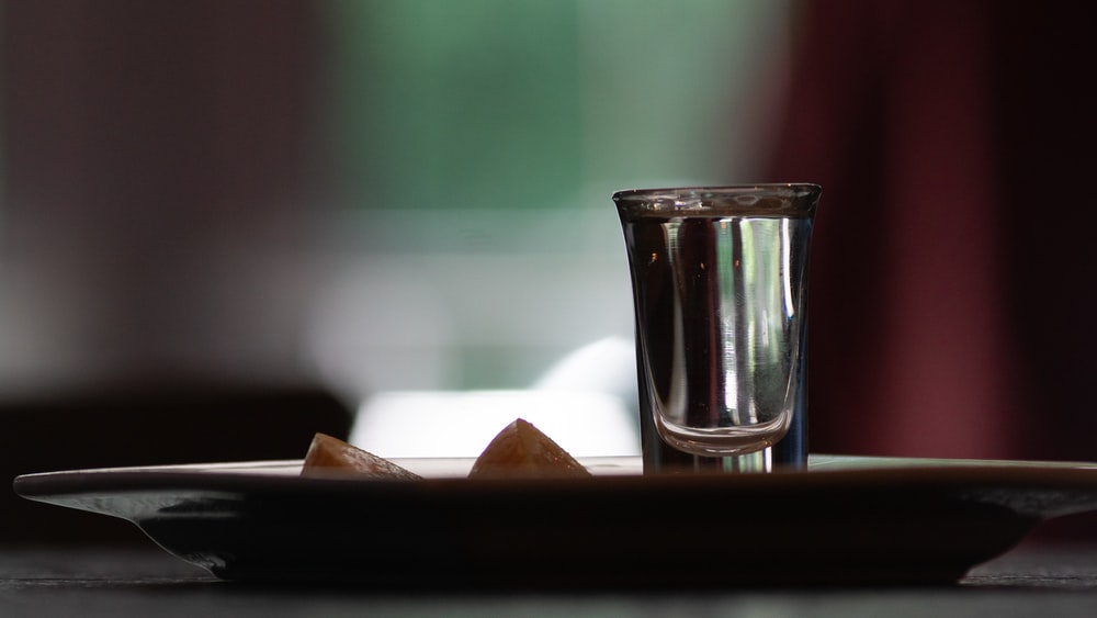 water filled drinking glass