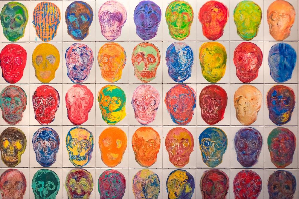 human skulls painting