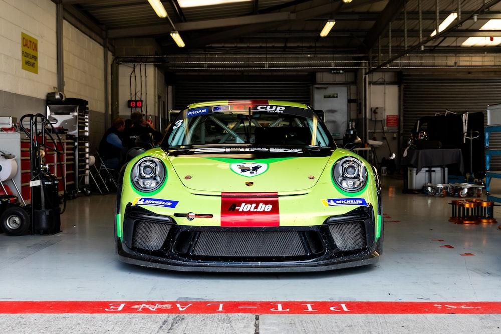 green Porsche vehicle