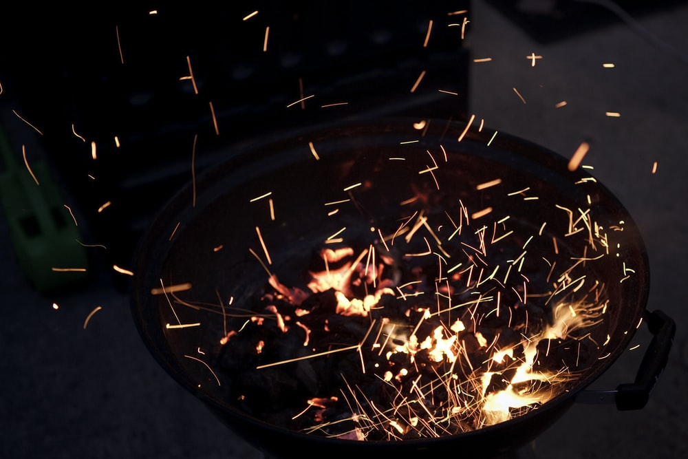 charcoal in fire pit