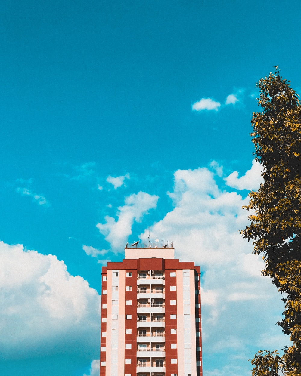 top view of red and white building under blue cloudy sky