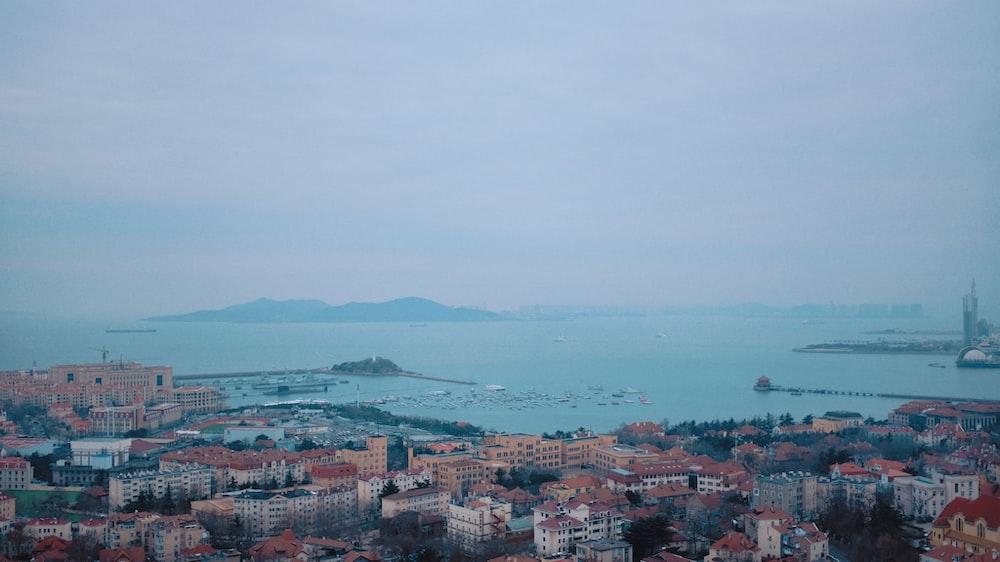 top view of cityscape facing ocean