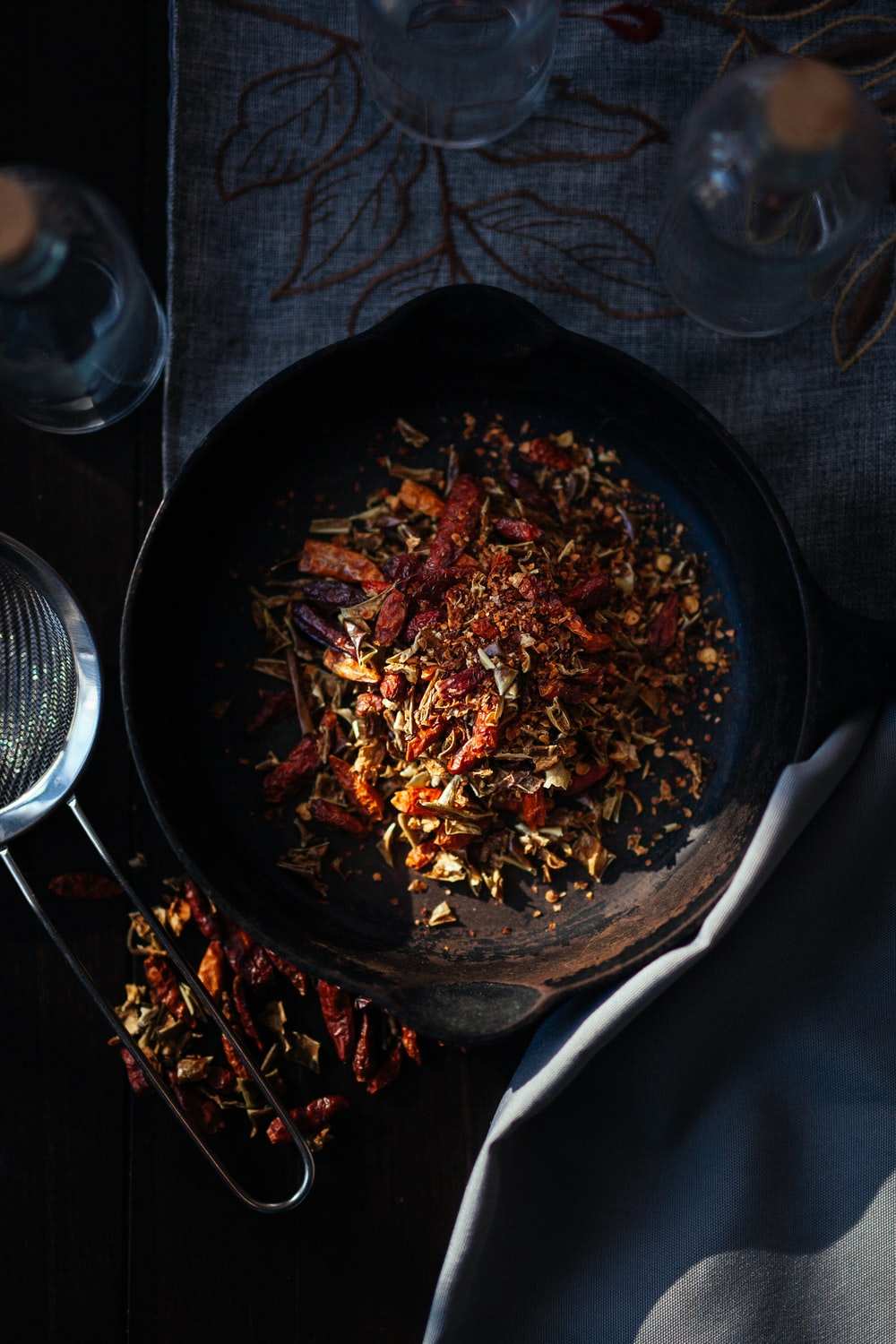 spices in cast-iron skillet