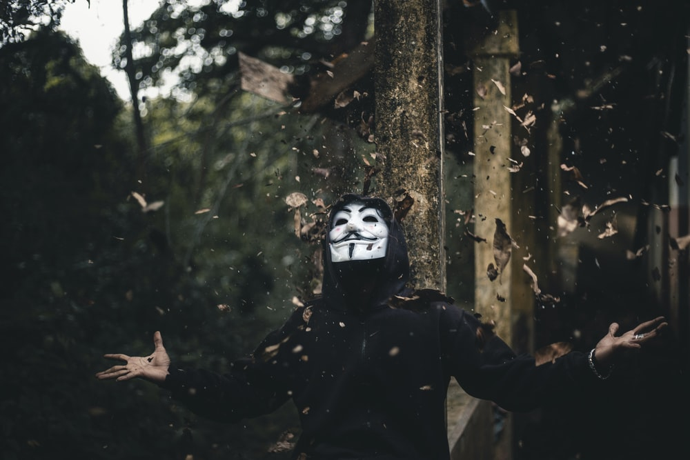 man in black jacket and Guy Fawkes mask