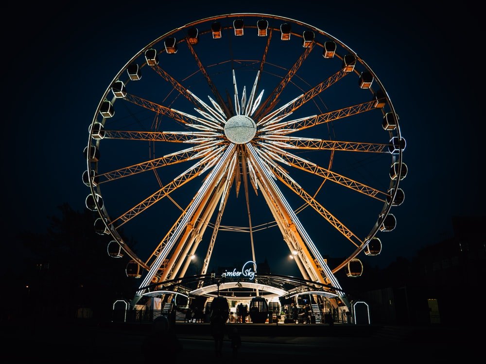 view photography of brown and gray ferris wheel