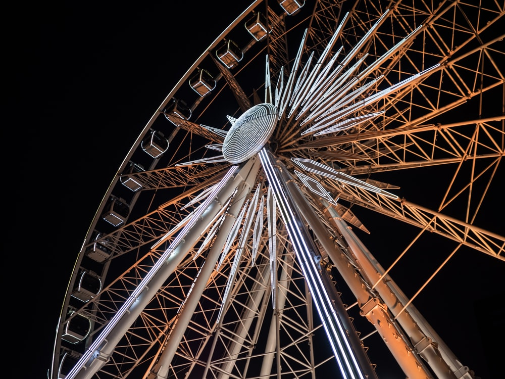 low-angle photography of brown and gray ferris wheel
