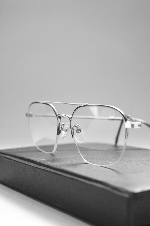 grey framed eyeglasses