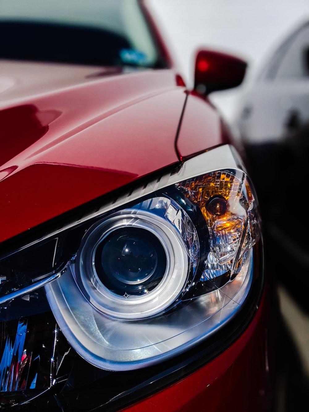 red vehicle headlight