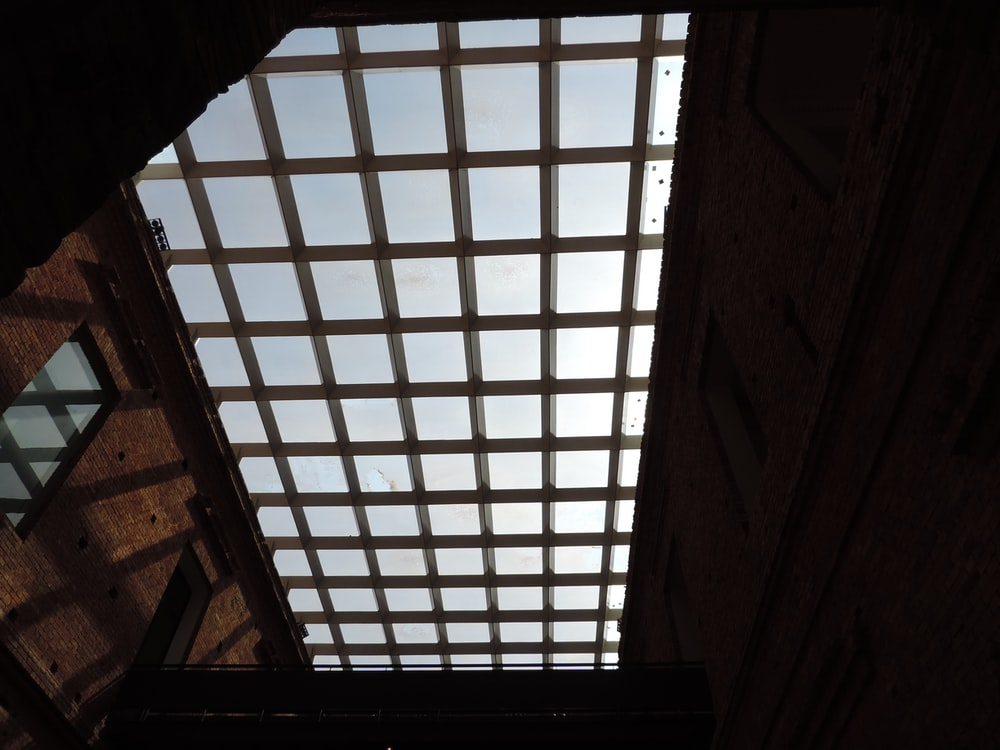 view photography of metal ceiling