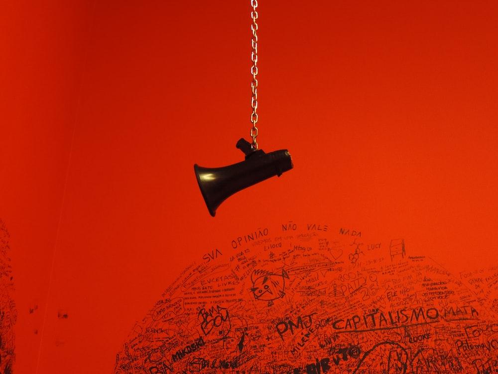 black megaphone pendant