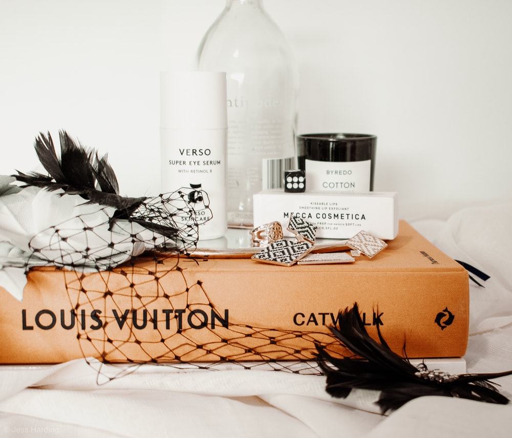 assorted product on Louis Vuitton box