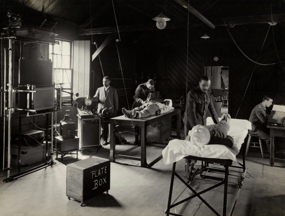 grayscale photography of hospital