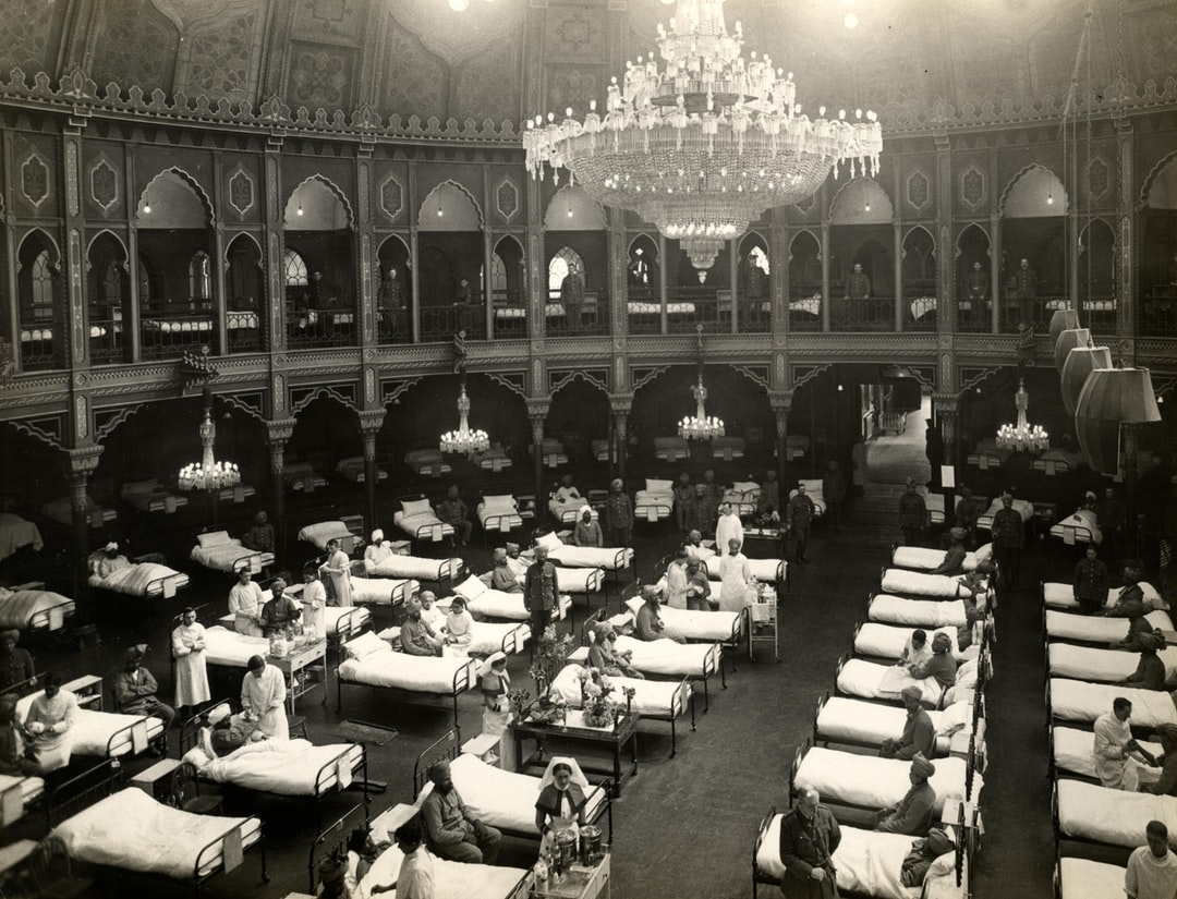 1914, World War 1. The Dome Hospital, showing some of the 689 beds in the whole hospital. These beautiful seaside palaces have been converted into hospitals for Indian troops, and are fitted with every modern convenience. Photographer: H. D. Girdwood.