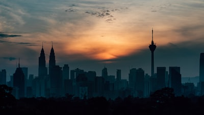 silhouette of buildings malaysia zoom background