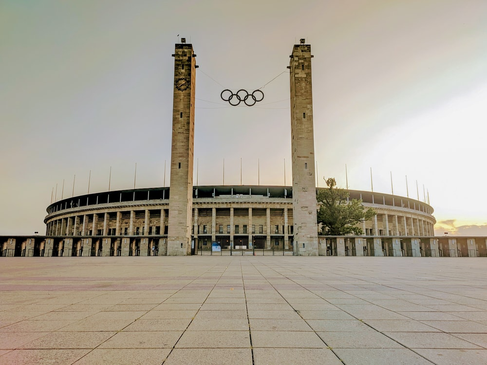 landscape photography of a white concrete sports complex