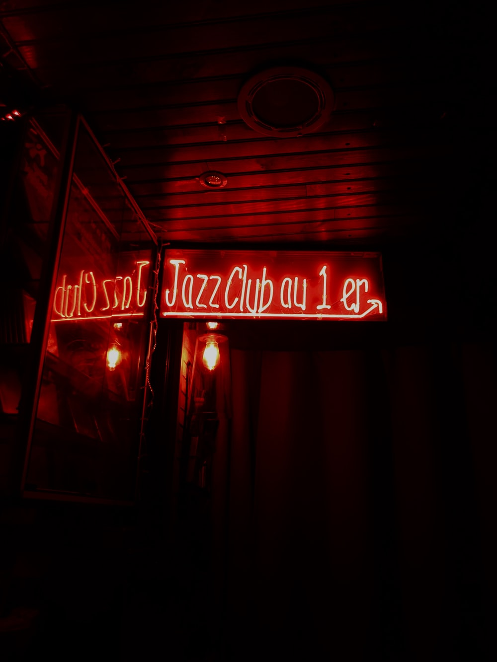 Jazz Club neon signage turned on