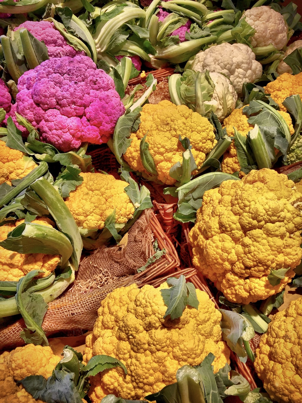 assorted-color cauliflowers
