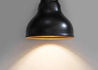 black pendant lamp turned on