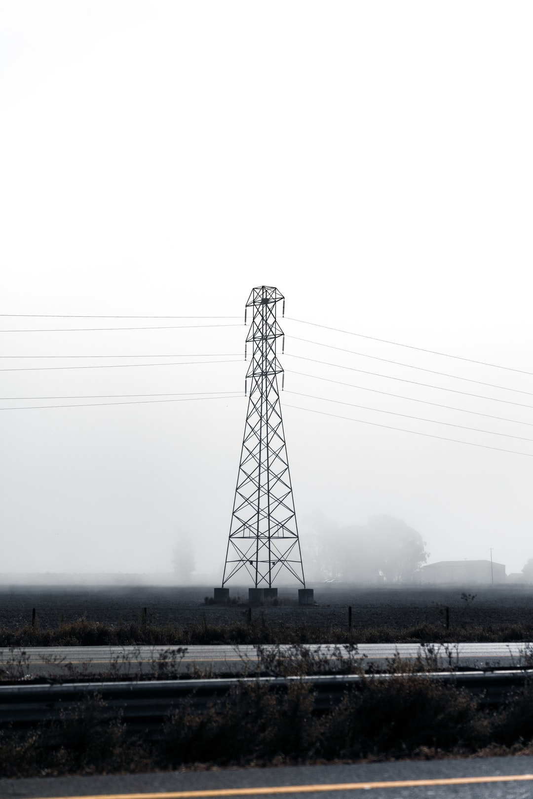 Steel lattice structure of an electric power transmission tower.