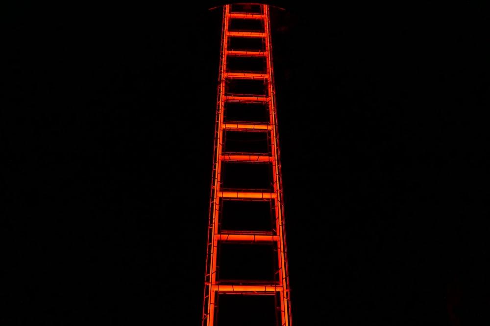 orange LED ladder art