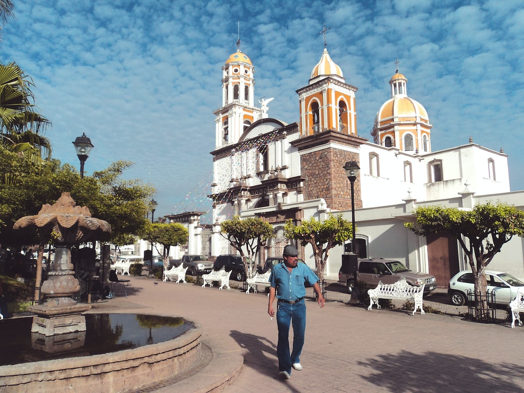 Comala, Colima. Old vintage town plaza and church.