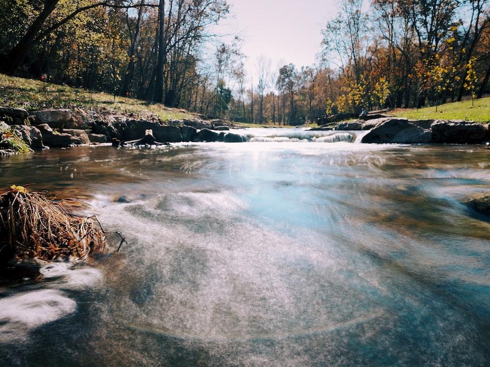 water stream at daytime