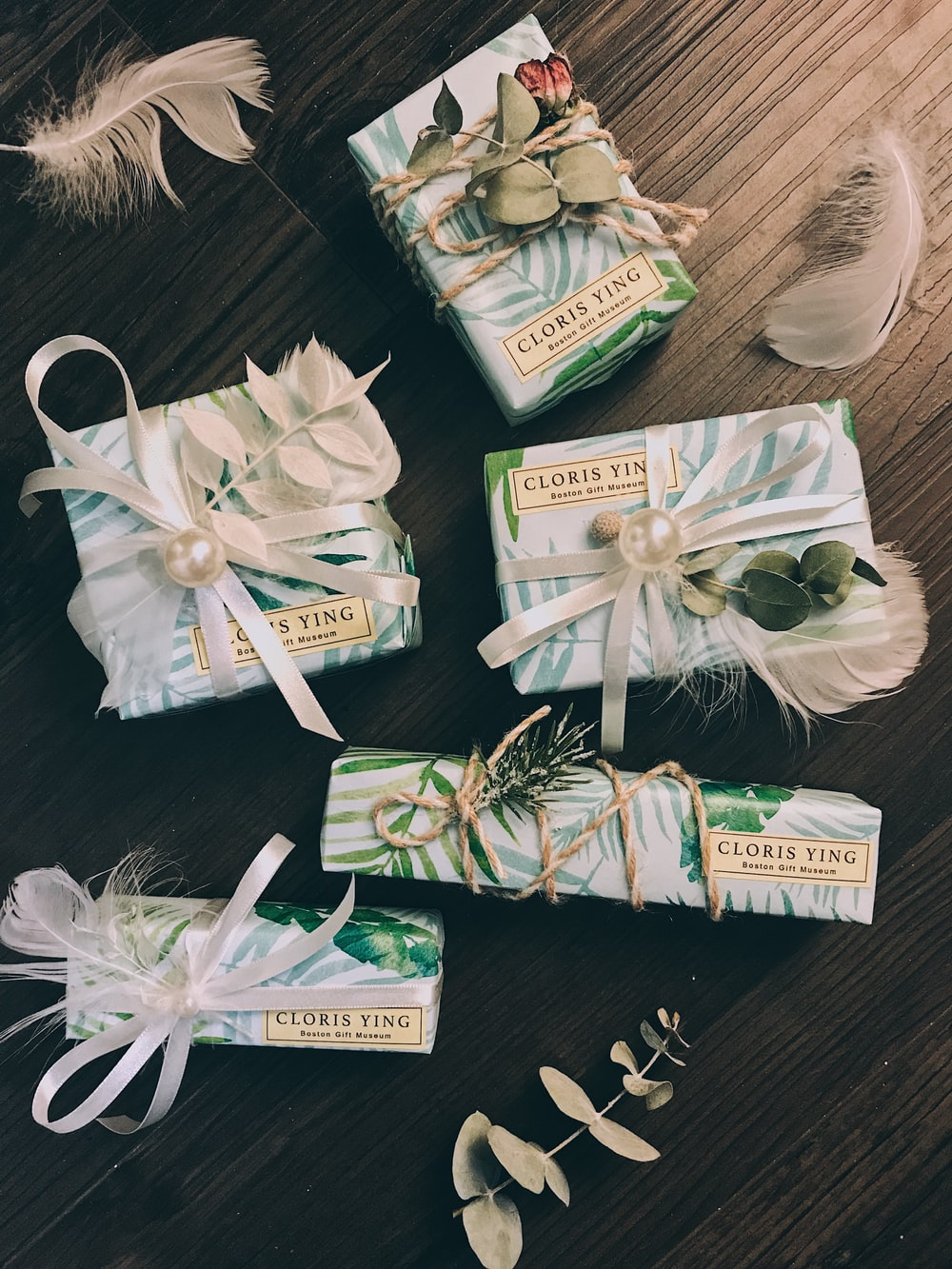 five gift boxes