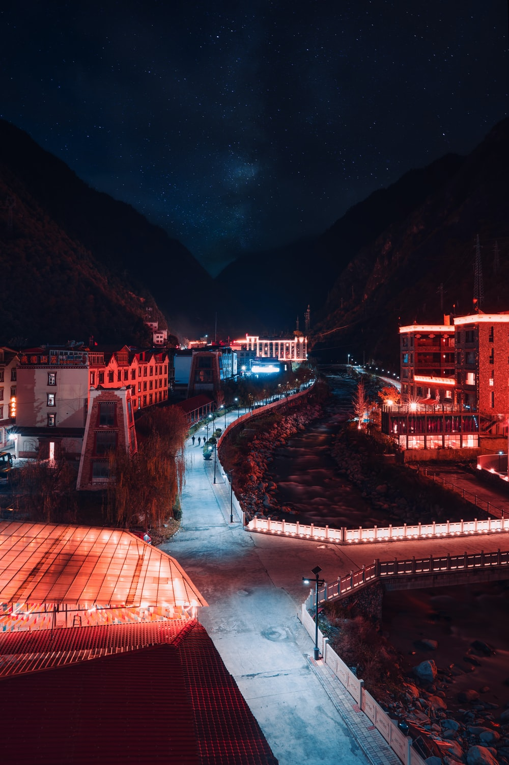 red-lighted buildings