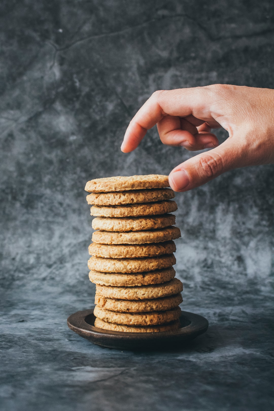 Stack of cookies. I'll just take one cookie