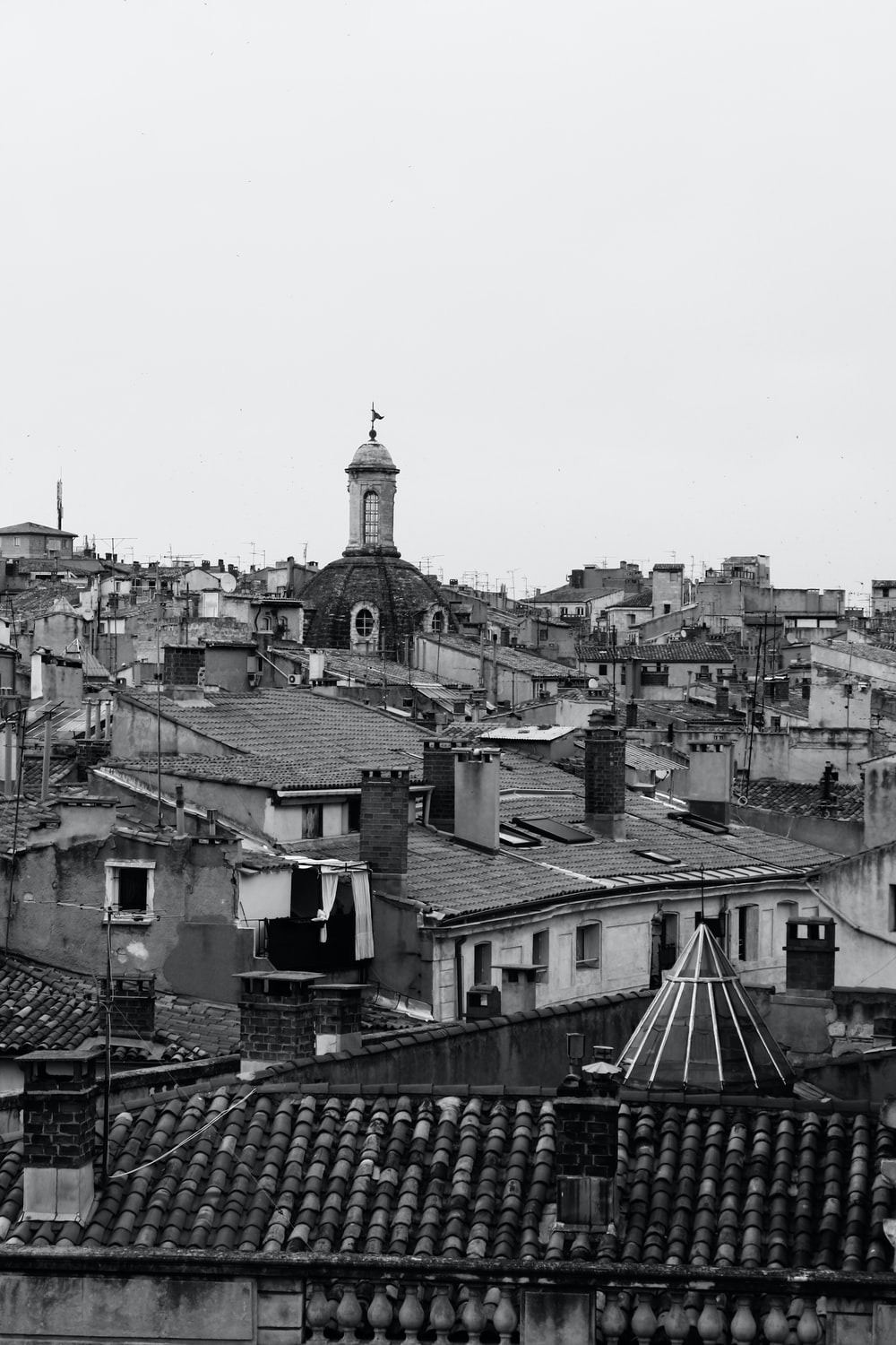 grayscale photography of city
