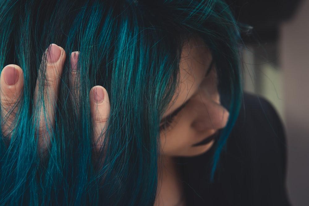 woman in blue hair