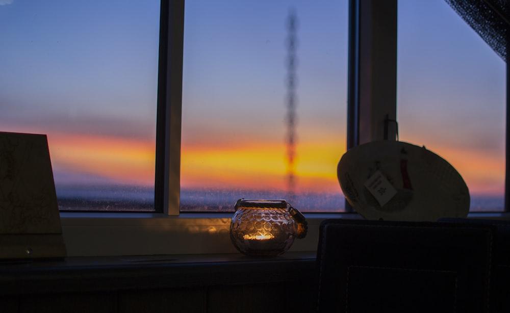 sunset view on window