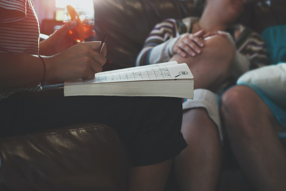 opened book on person's lap