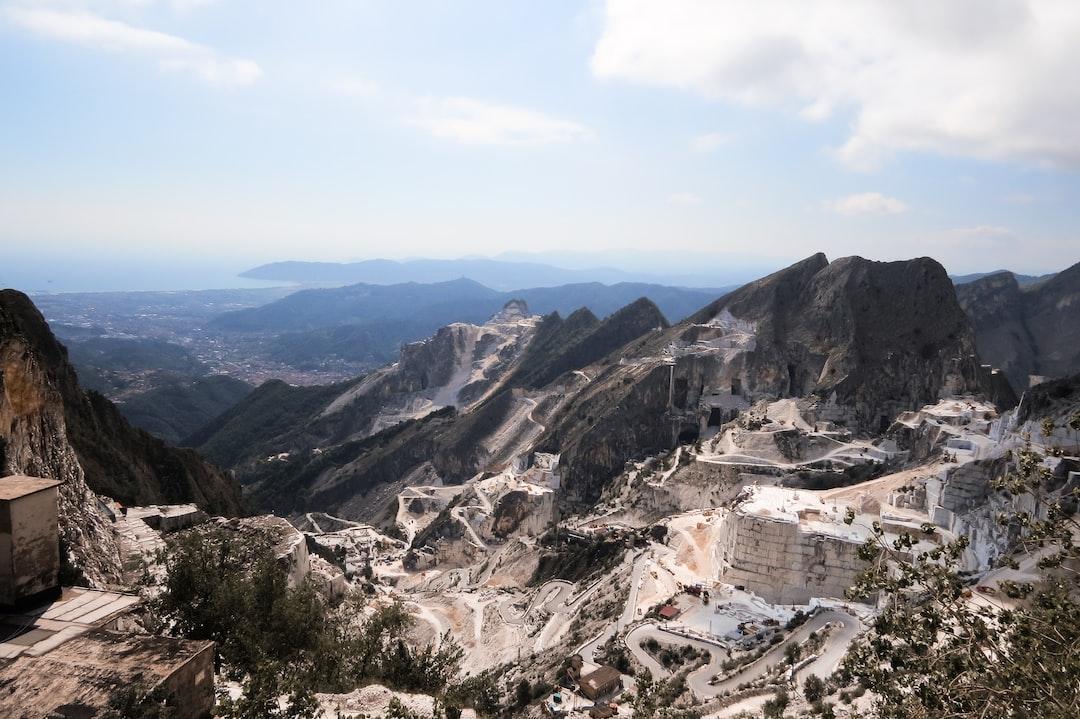 View from the precipice. Carrara marble quarries. Carrara, Tuscany, Italy.