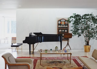 black grand piano near wall inside living room