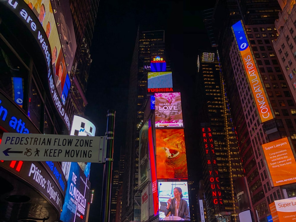 low-angle photography of New York Time Square