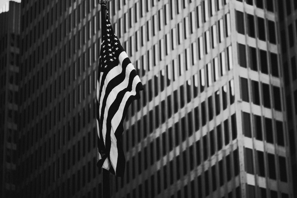grayscale photography of flag of US
