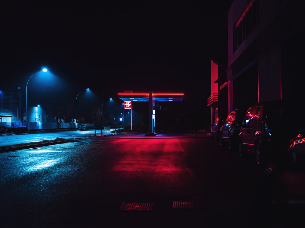 empty road with blacklight
