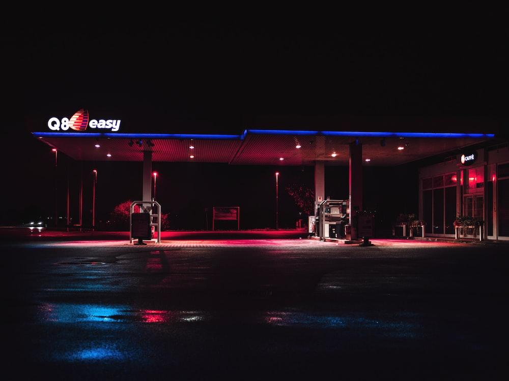 lighted gasoline station